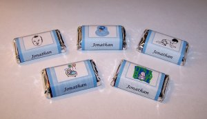 120 Personalized Baby Boy Shower Favor Miniature Candy Wrappers