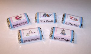 120 Customized Baby Shower Favor Miniature Candy Wrappers Unisex