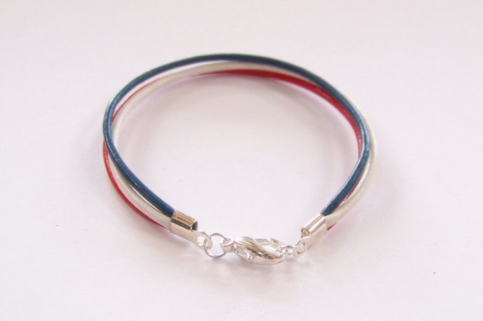 Patriotic Red White and Blue Surfer Style Leather Bracelet