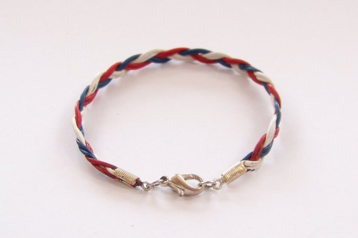 Patriotic Red White and Blue Braided Leather Bracelet