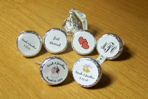 324 Personalized Wedding Hershey Kiss Favor Labels