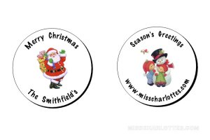Personalized Round Christmas Gift Favor Labels (96 cnt)