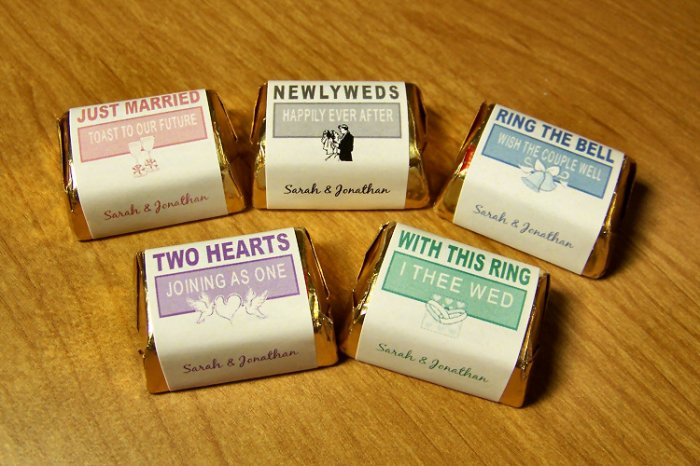Personalized Wedding Hershey Nugget Candy Wrapper Favor Labels 120 cnt