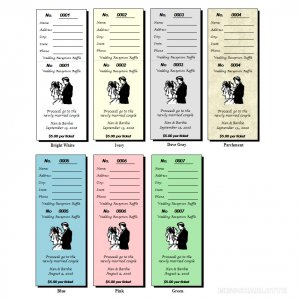200 Personalized Bridal Shower or Wedding Reception Raffle Ticket Favors