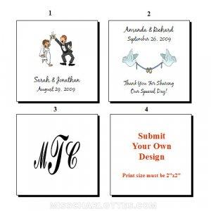 "1.5"" Personalized Square Wedding Favor Labels 120 cnt"
