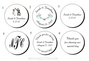 """1.2"""" Personalized Bridal Shower or Wedding Reception Round Favor Labels (192 cnt)"""