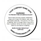 1.67 inch Customized Candle Warning Round Labels Style 2 - 120 cnt