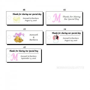 120 Personalized Bridal Shower or Wedding Reception Rectangle Hang Tags