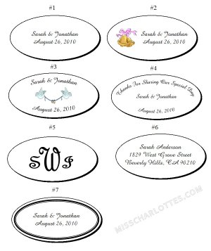 """2.5x1.375"""" Personalized Wedding or Bridal Shower Oval Favor Labels (105 cnt)"""