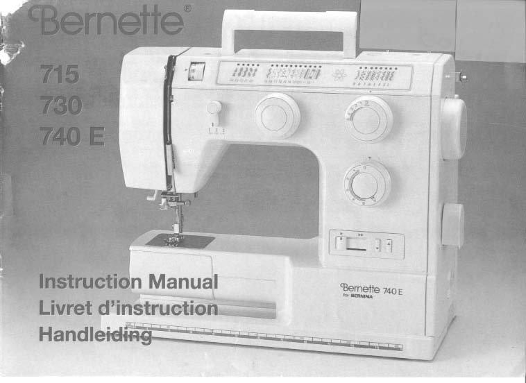 Bernina Bernette 715, 730, 740E Sewing Machine Manual Pdf
