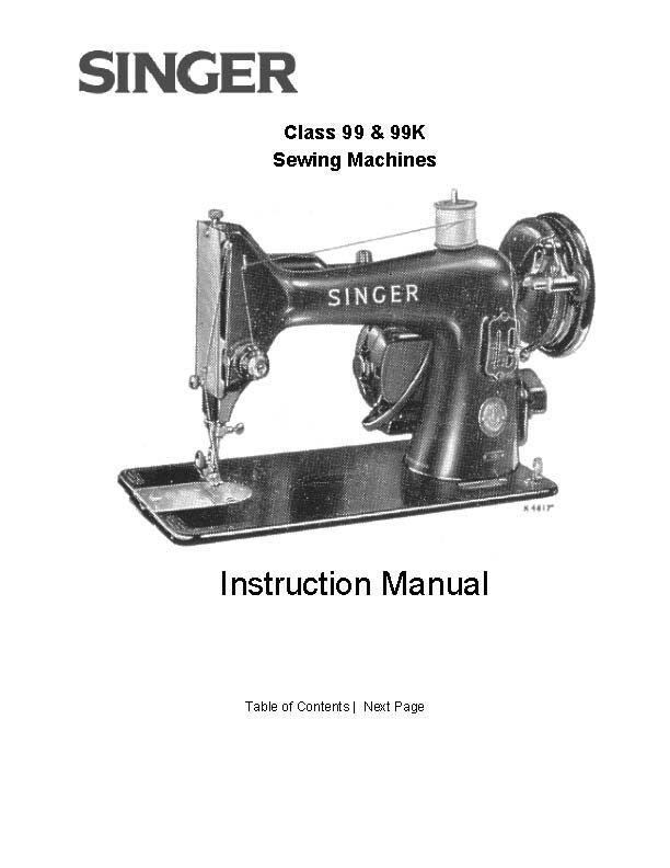 Singer model 99 sewing machine manual pdf for Decor 99 sewing machine