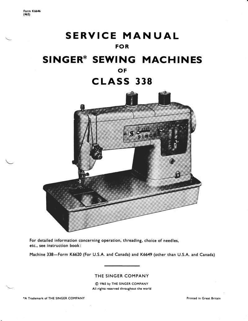 Singer 338 Sewing Machine Service Manual Pdf