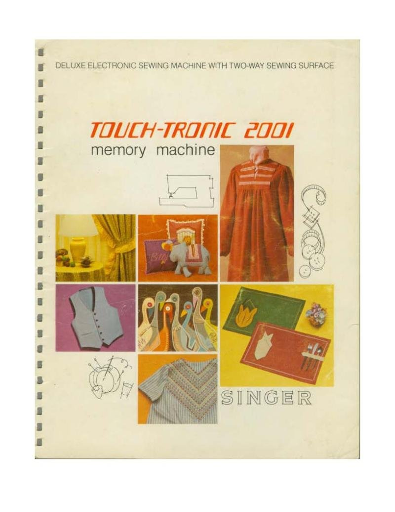 Singer 2001 Touch-Tronic Sewing Machine Instruction Manual Pdf
