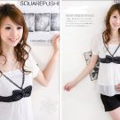ML 8042 white chiffon ribbon blouse