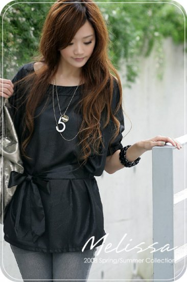 ML 8042 Black silk blouse