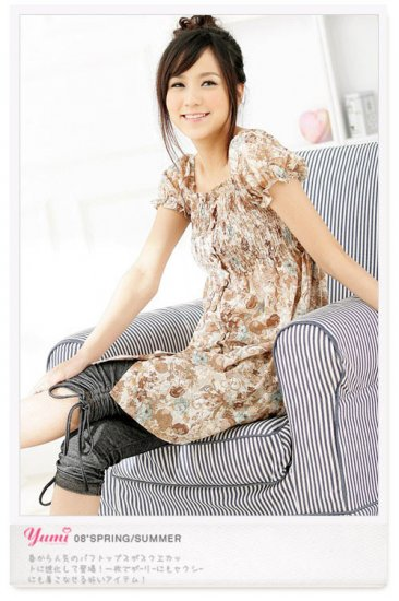 ML 9052 cream flowery dress