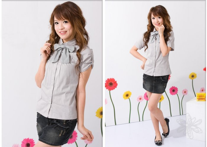 ML 8045 Grey  ribbon shirt