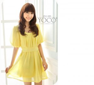 ML 9054 yellow chiffon dress