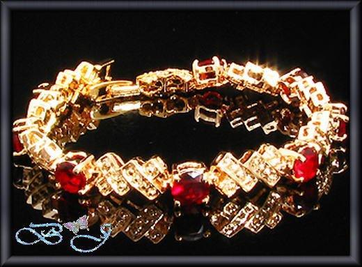 8x5mm Sim Red Ruby Round Cut 18KGP Tennis Bracelet