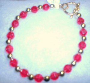red with silver bracelet