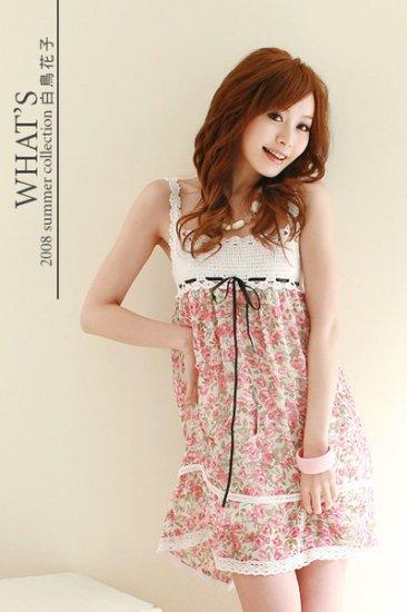 20s Twenties  Floral Chiffon Dress (Pink) A1212