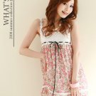 20s Twenties  Floral Chiffon Dress (Pink) A1212