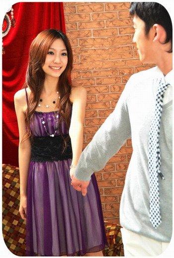 20s Twenties Chiffon Dinner Dress (Purple) A3535