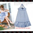 20s Twenties Halter Cotton Stripe Dress A0976