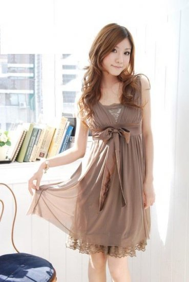 20s Twenties Chiffon Dress with Lace Tube (Brown) A0815
