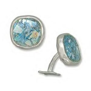 Cuff Links With Ancient Roman Glass
