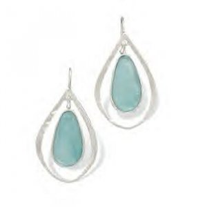 Cut Out French Wire Earrings With Roman Glass
