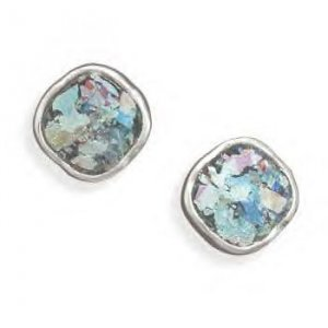 Post Earrings With Roman Glass