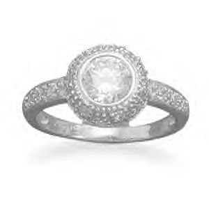 Ring With Round CZ and Pave Sides