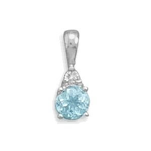 Blue Topaz and Clear CZ Pendant