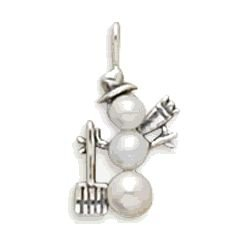 Silver and Pearl Snowman Charm