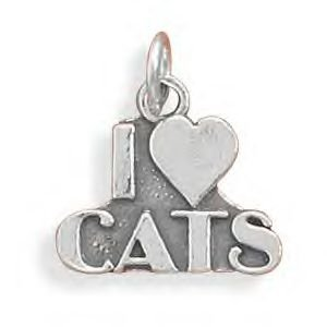 Sterling Silver I Love Cats Charm