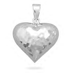 Hammered Silver Puffy Heart Pendant