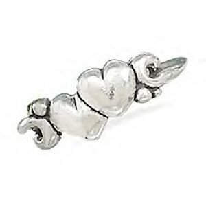 Double Hearts and Swirl Design Ring