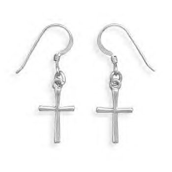 French Wire Earrings With Hanging Cross
