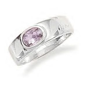 Amethyst Ring With Polished Silver Band