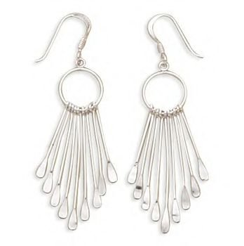 French Wire Earrings With Open Circle Nine Bar Drop