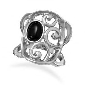Black Agate Fashion Ring