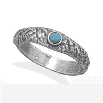 Textured Band Ring With Turquoise