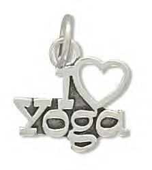 Sterling Silver I love Yoga Charm