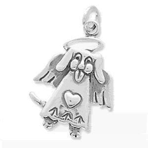 Dog Angel Sterling Silver Charm