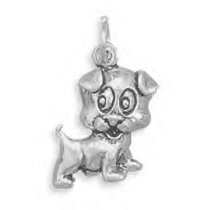 Sterling Silver Puppy Dog Charm