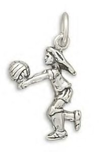 Girl Volleyball Player Silver Charm