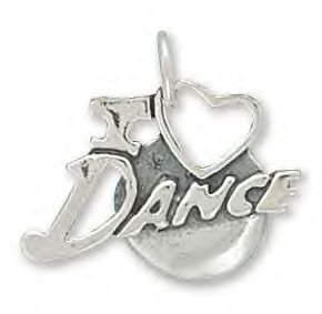 Sterling Silver I Love Dance Charm