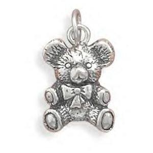 Antique Teddy Bear Silver Charm
