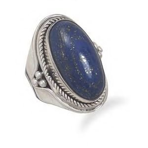 Rope and Bead Design Ring With Genuine Lapis